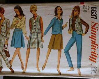 Simplicity 6637 Misses Jacket or Sleeveless Jacket, Skirt & Tapered Slacks 60s Vintage Sewing Pattern Sz 16