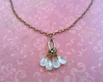 Beauty Gift Pale Faceted Aquamarine Gemstone Briolettes on a Gold-Plated Brass Link Chain Necklace
