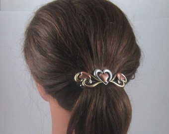 OPEN HEARTS 80mm French Barrette- Hearts Barrette- Valentine Gift- Hair Accessories- Barrettes and Clips