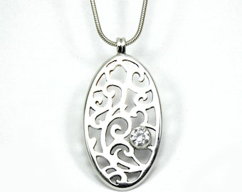Sterling Silver Hand Pierced Pendant with Cubic Zirconia