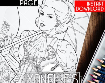 Victorian Lady with Umbrella Printable Digital Coloring Page for Kids and Adults