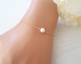 Rose Gold Bracelet, Single Pearl Bracelet, Wedding Bracelet Set, Bridesmaid Gift
