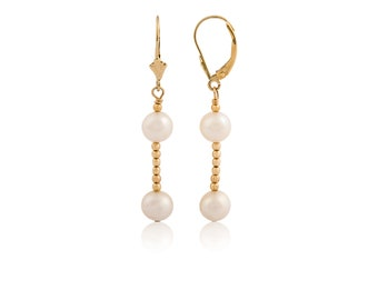 14K Solid Yellow Gold Pearl Ball Lever Back Dangle Earrings