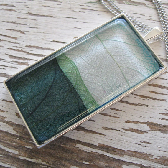 Real Leaf Necklace - The Land and the Sea Layered Leaf Necklace in Silver