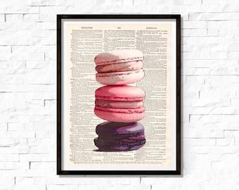 Macaron Cookies, Strawberry, Vanilla, Food Art, Bakery Art, Pastel, Pink, Dessert, Cafe Art, dictionary page book art print
