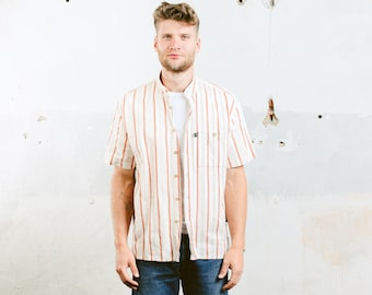 Striped Collarless Shirt . Beige Vintage Men's 80s Summer Shirt Work Shirt Band Collar Minimalist Dress Shirt Peasant Shirt . size Medium