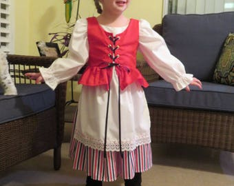 Cute Finland National Girls Costume, Scandinavian, Finnish, Nordic, International, Folk, Traditional Two piece Costume Dress and Vest  NEW