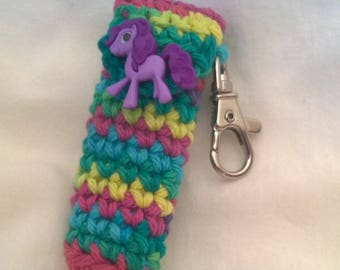Rainbow Pony Lip Balm Holder, Chapstick Case, Rainbow Keychain, Purple Pony Lip Balm Holder, Stocking Stuffer, Christmas Gifts for Her