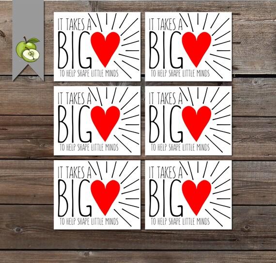 big heart gift tag teacher appreciation it takes a big