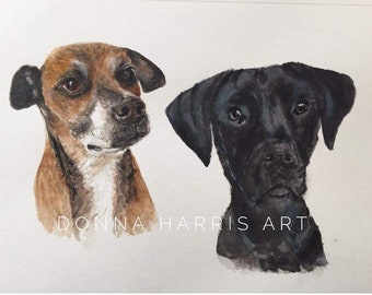 Watercolor pet portrait of two dogs on one 8x10 or 11x14 watercolor paper.