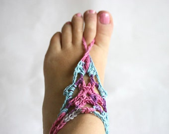 Boho barefoot sandals, Crochet beach shoes, Gipsy Barefoot Sandals, Hippie Naked shoes, Belly dance, Yoga, Anklet , Sexy foot