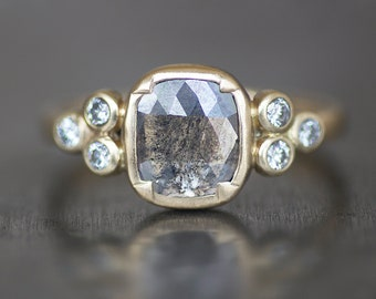 Salt and Pepper Diamond Engagement Ring - .83 Carat Rose Cut Cushion - 14K Gold - 8x7mm Conflict Free Diamond (Size 7 / Resize)