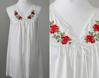 Lorraine White Nightgown with Embroidered Roses | Sleeveless | Nightie | Bow Tie