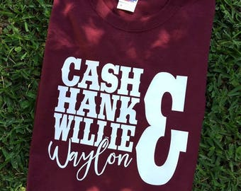 Cash Hank Willie and Waylon  - Your Choice of Shirt Color And Size
