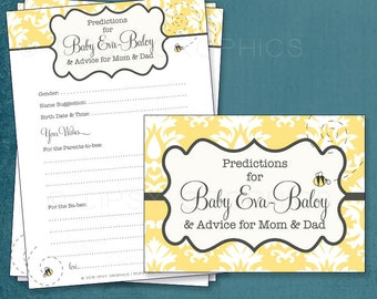 Soft Damask Bumble Bee Themed Baby Wishes & Predictions by Tipsy Graphics. Madlib. AdLib. Baby Wishes. Baby Statistics. Printable Cards