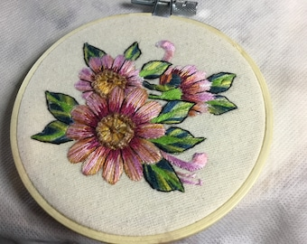 Pink flower embroidery, art silk, hand embroidered flower