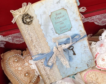 Sweet Sixteen Alice in Wonderland themed Party guest Book - Blue
