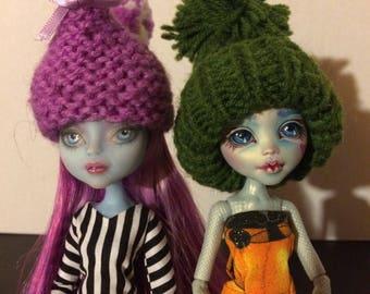 Custom Knitted Chicken Hats for Monster High Dolls