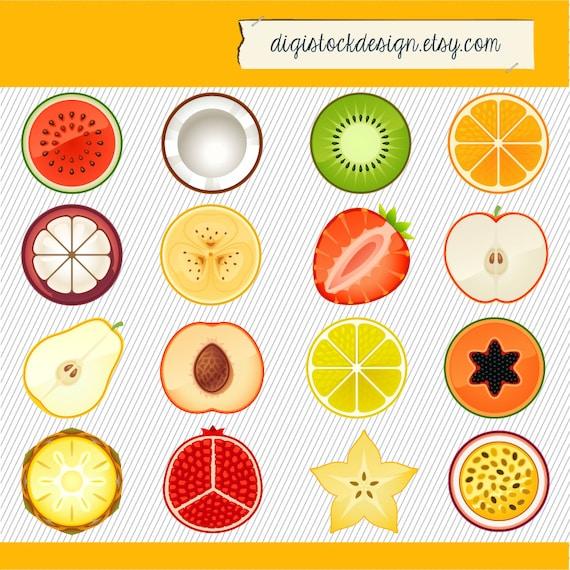 Items similar to Fruit Clipart. Fruit Illustration. Fruit digital images. Slice of ...