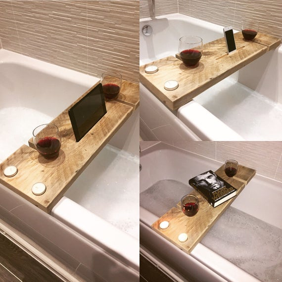 Handcrafted Rustic Reclaimed and Upcycled Wooden Bath Caddy