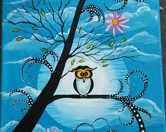 Funky Owl in a Tree 12 x 16 Painting on Stretched Canvas, Original Art, One of a Kind, not a print