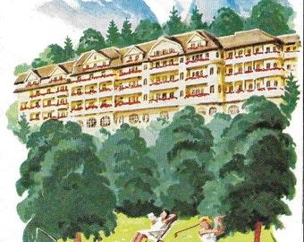 Vintage 1950's Illustrated German Travel Brochure - Deutschland Golf Hotel - Bayr Alpen