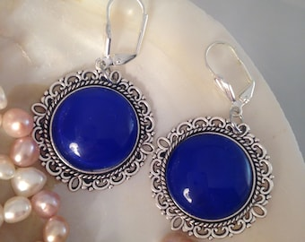 Beautiful earrings, blue earrings, women earrings, christmas gift, victorian earrings, vintage earrings