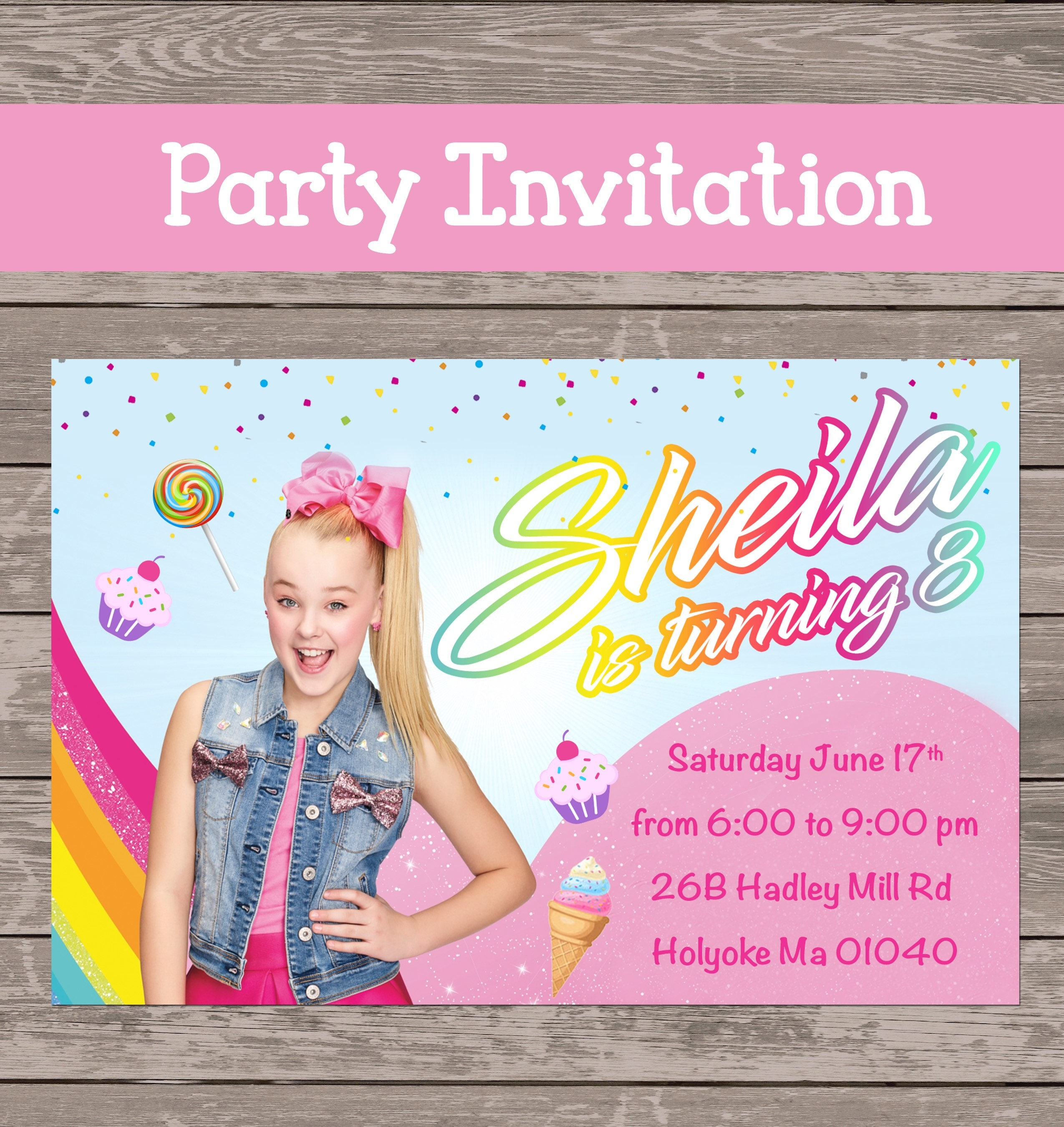 Jojo Siwa 12 party invitations prints