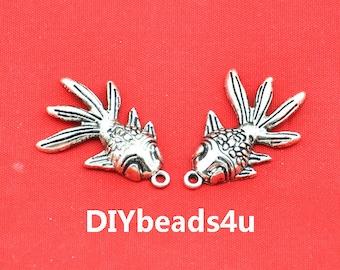 Fish Charm -15pcs Antique Silver Gold Fish Charm Pendants 22x35mm ---G1747