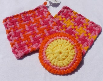 Colorful Kitchen Gift Set Ready to Give: Two Cotton Woven Potholders, Large Nylon Scrubby, Thank You Gift, Hostess Gift, Kitchen Decor