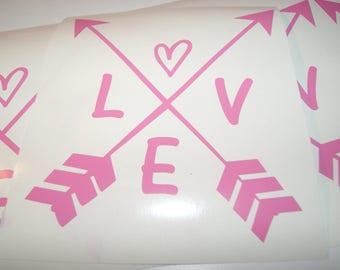 Love, arrows, Love decal sticker