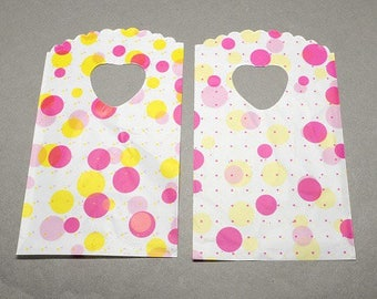 lot 50 pouches sachet bags plastic fancy 15 x 9 dots yellow pink gifts, jewelry