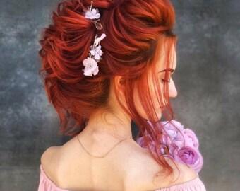 Blush pink flower red hair women silk flower hair piece Bohemian bridal floral headpiece black crystal prom hair Dusty flower Accessories