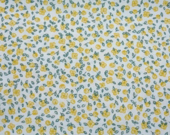 Cotton Floral Fabric -  yellow Floral Flowers Cotton Cloth Fabric 1 x 1,60 m (39,37x63 inch)