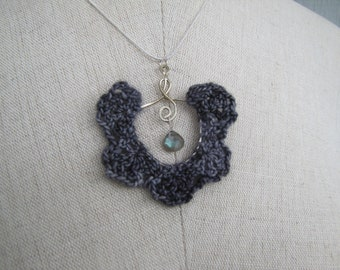 Wire worked and crocheted wool lace necklace