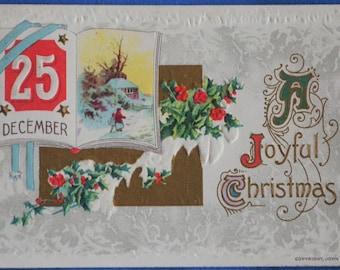 25 December A Joyful Christmas Postcard Embossed 1914
