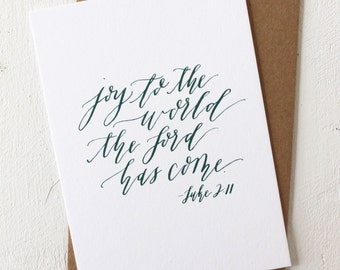 Card with Envelope: Joy to the World, Calligraphy