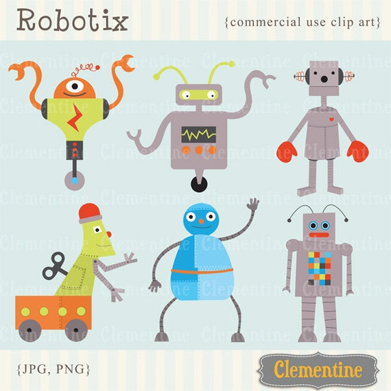 robot clip art images royalty free commercial use instant rh etsy com free vector clipart commercial use free clipart images commercial use