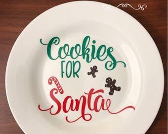 cookies for santa, cookies for santa plate, santa plate, santa cookie plate, christmas plate, christmas cookie plate, santa's cookies plate