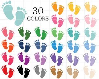 Baby Feet Clipart, Babye Feet Clip Art, Baby Shower Clipart, Digital Baby Feet, Footprints Clipart, Baby Footprints, Colorful Footprints