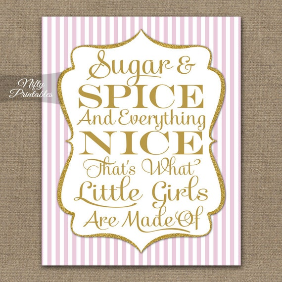 Sugar And Spice Print Pink Gold Glitter Baby Shower