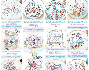 Iron On Hand Embroidery Patterns. Hand Sewing. Iron On Transfer. Embroidery Designs. Embroidery Gift. Craft Kit. Craft Gifts. Hand Stitched.