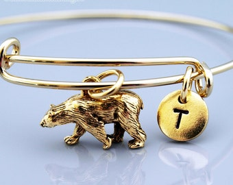 Grizzly Bear charm Bangle, Grizzly Bear charm bracelet, Grizzly bear charm jewelry, Expandable bangle, Charm bangle, Initial bracelet