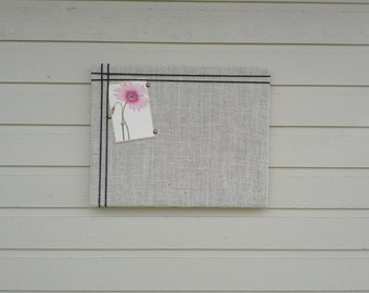 Burlap Pin Board, with an accent of macrame cording,  Photo Memory Board, Memo Pin Board, 16 x 20 inches