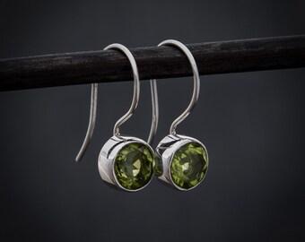 Peridot Drop Earrings, Peridot and Silver, Silver Drops, Green Stone Gemstone Drops, Sterling Silver, Semi Precious Stone, August Birthstone