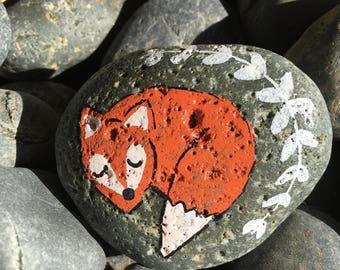 Sleeping Fox Painted Rock