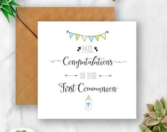 Candle Congratulations On Your First Communion Card, Card for Communion, Communion Card, 1st Communion Card, Personalised Communion