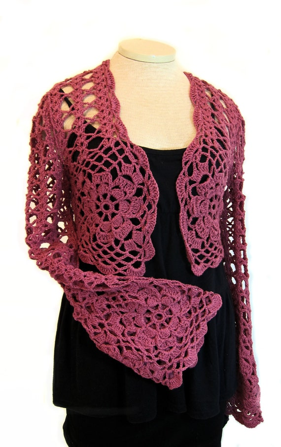 Raspberry Shrug Wrap Crochet Shrug Knit Shrug Lace Stole