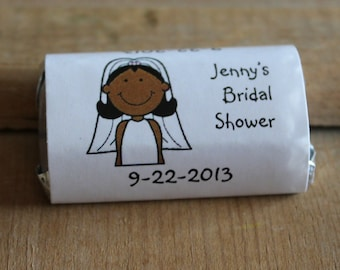 African American Bride Bridal Shower Wedding Candy Bar Wrappers  Rehearsal Dinner Favors Candy Wrappers