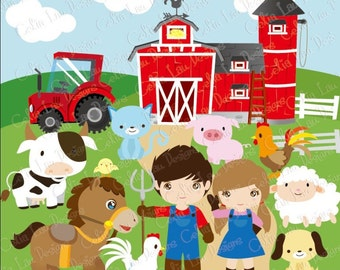 Farm Clipart, Barnyard clip art (CG041), Cute barn animals and kids, Farm truck for Personal and Commercial Use / INSTANT DOWNLOAD